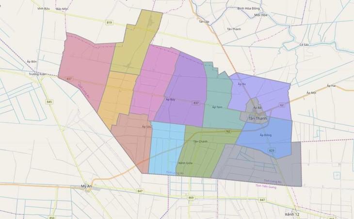 Bản đồ hành chính huyện Tân Thạnh, Long An