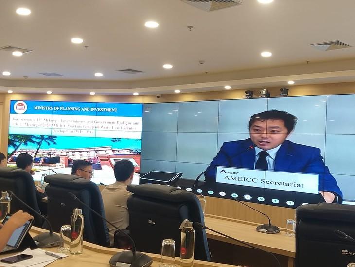 Ông Yuhei Wada - Tổng thư ký AMEICC phát biểu tại Cuộc họp Đối thoại Chính phủ - doanh nghiệp (DN) lần 13 và cuộc họp Nhóm công tác AMEICC về phát triển hành lang Đông Tây lần thứ 1 năm 2020 được tổ chức trực tuyến tại Bộ Kế hoạch và Đầu tư vào ngày 17/7. Ảnh: Minh Thông
