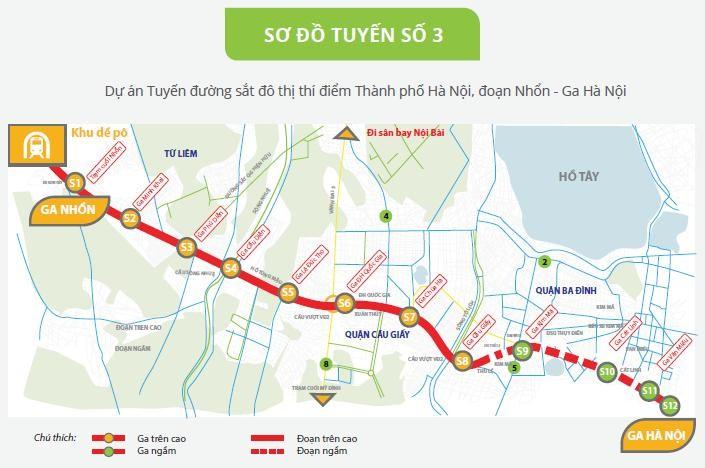 Sơ đồ tuyến đường sắt đô thị số 3 Hà Nội