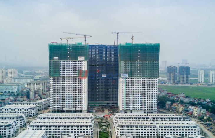 Toàn cảnh hai tháp CT1 & CT2 Vinhomes Gardenia cao 37 tầng.
