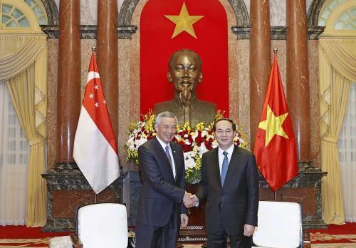 Chủ tịch nước Trần Đại Quang tiếp Thủ tướng Cộng hòa Singapore Lý Hiển Long đang thăm chính thức Việt Nam, ẢNh: Nhan Sáng-TTXVN
