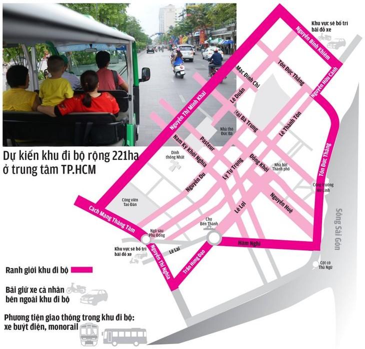Sơ đồ đường bao quanh khu vực phố đi bộ - Ảnh: Hữu Khoa - Đồ họa: Vĩ Cường (Tuổi trẻ)