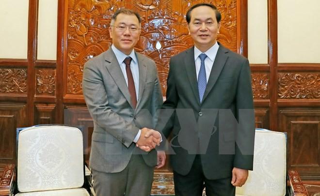 Chủ tịch nước Trần Đại Quang tiếp ông Chung Eui-sun, Phó Chủ tịch Tập đoàn Hyundai Motor đang thăm và làm việc tại Việt Nam. Ảnh:TTXVN
