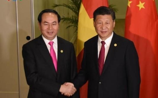 Chủ tịch nước Trần Đại Quang và Tổng Bí thư, Chủ tịch nước Trung Quốc Tập Cận Bình. Ảnh: VOV