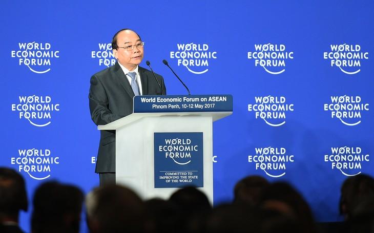 Thủ tướng Nguyễn Xuân Phúc phát biểu tại phiên khai mạc WEF-ASEAN. Ảnh: VGP