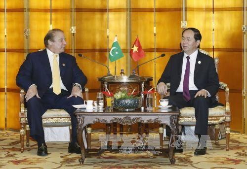 Chủ tịch nước Trần Đại Quang và Thủ tướng Pakistan Nawaz Sharif. Ảnh: TTXVN