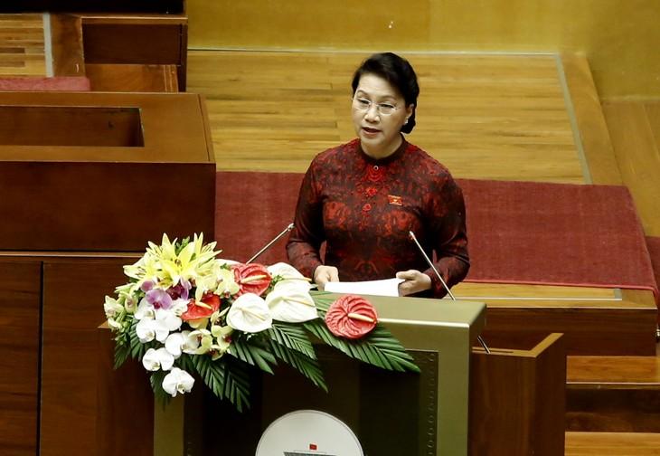 Chủ tịch Quốc hội Nguyễn Thị Kim Ngân phát biểu tại buổi khai mạc. Ảnh: VGP