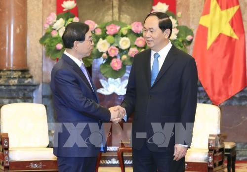 Chủ tịch nước Trần Đại Quang tiếp Ngài Park Won soon, Đặc phái viên của Tổng thống Hàn Quốc đang trong chuyến thăm và làm việc tại Việt Nam. Ảnh: TTXVN