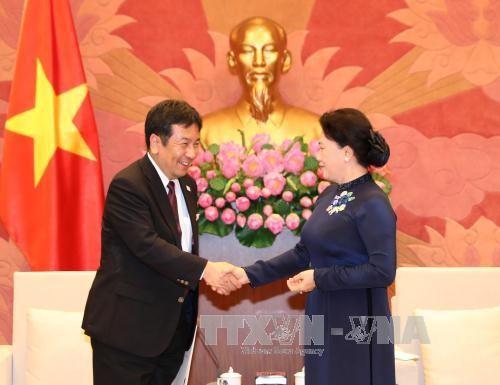 Chủ tịch Quốc hội Nguyễn Thị Kim Ngân tiếp ngài Edano Yukio, Hạ Nghị sĩ, Phó Tổng thư ký Thường trực Đảng Dân tiến Nhật Bản. Ảnh: TTXVN