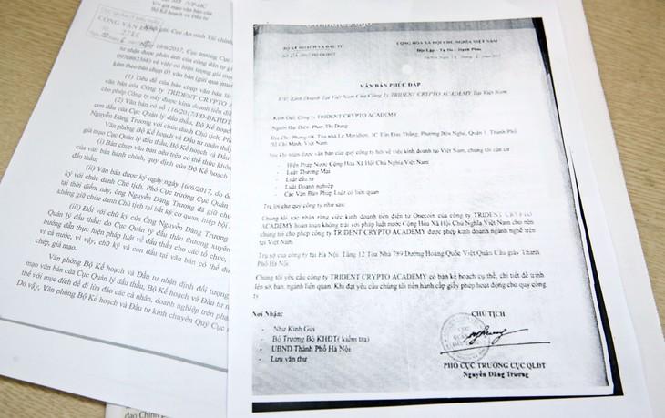 Văn bản giả mạo Bộ Kế hoạch & Đầu tư và mạo danh ông Nguyễn Đăng Trương, Cục trưởng Cục QLĐT. Ảnh: Lê Tiên