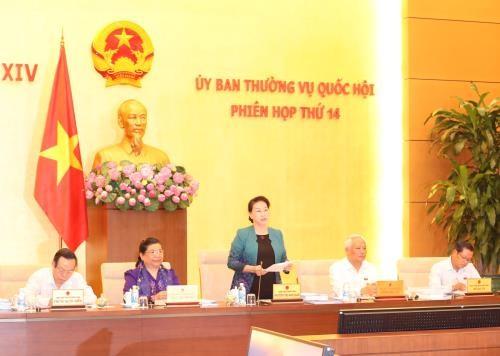 Chủ tịch Quốc hội Nguyễn Thị Kim Ngân chủ trì và phát biểu khai mạc Phiên họp thứ 14 của Ủy ban Thường vụ Quốc hội khóa XIV. Ảnh: TTXVN