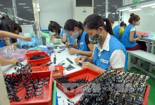 Sản xuất màng chắn và khung loa tai nghe cho điện thoại di động và điện thoại thông minh tại Công ty TNHH NS Tech. Vina. Ảnh: TTXVN