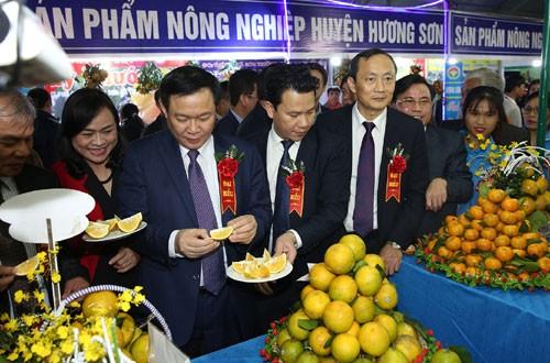 Phó Thủ tướng Vương Đình Huệ thưởng thức đặc sản cam Hà Tĩnh. Ảnh: VGP