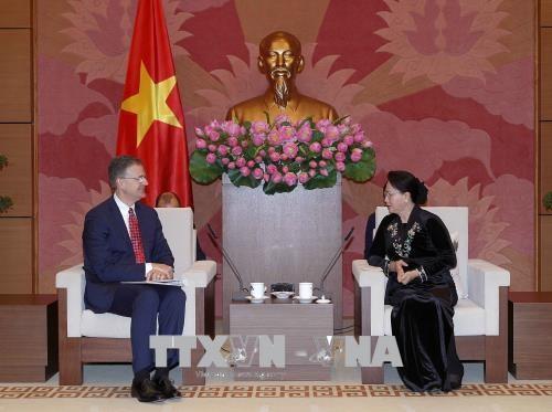 Chủ tịch Quốc hội Nguyễn Thị Kim Ngân tiếp Đại sứ Hoa Kỳ Daniel Kritenbrink. Ảnh: TTXVN
