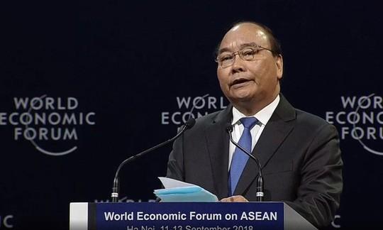 Thủ tướng Nguyễn Xuân Phúc phát biểu chào mừng khai mạc Hội nghị WEF ASEAN 2018