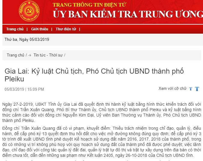 Gia Lai: Kỷ luật Chủ tịch, Phó Chủ tịch UBND thành phố Pleiku
