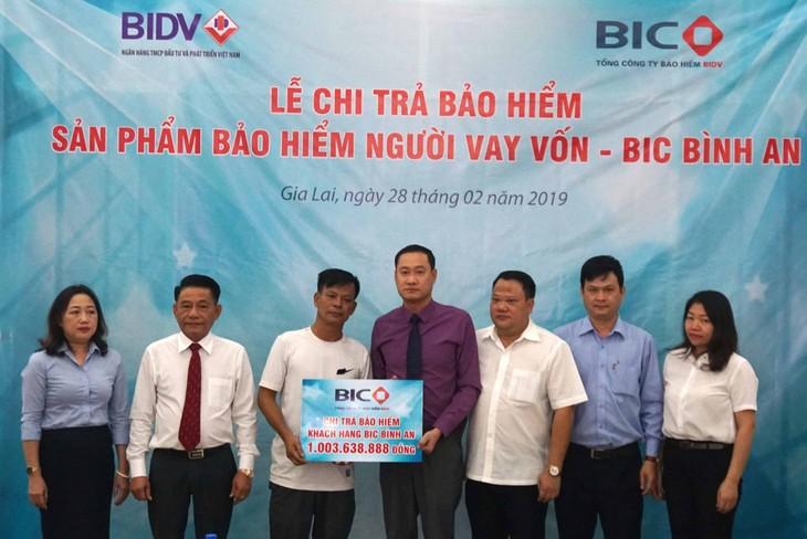 Đại diện lãnh đạo BIC và Chi nhánh BIDV Gia Lai trao tiền bảo hiểm cho gia đình khách hàng