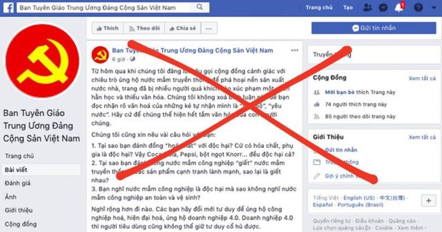 Ban Tuyên giáo Trung ương khẳng định không sở hữu tài khoản Facebook này.