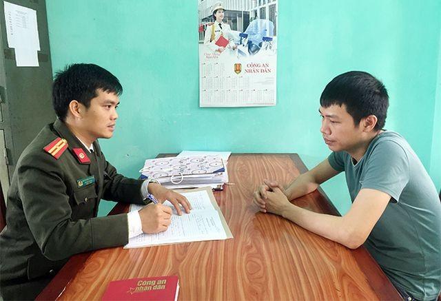 Cơ quan ANĐT Công an tỉnh Phú Thọ làm việc với đối tượng Phạm Tiến Cương