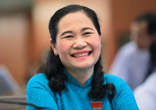 Bà Nguyễn Thị Lệ trong phiên họp chiều nay.