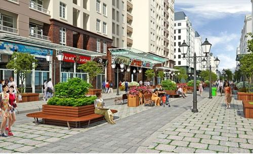 Phối cảnh khu nhà ở giãn dân phố cổ được quận Hoàn Kiếm công bố năm 2015.