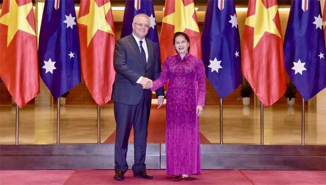 Chủ tịch Quốc hội Nguyễn Thị Kim Ngân và Thủ tướng Australia Scott Morrison. Ảnh: Đại biểu nhân dân