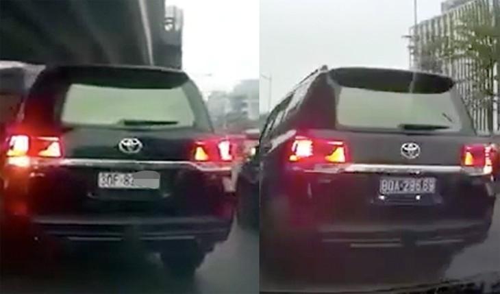 Chiếc xe Land Cruiser sử dụng thiết bị lật biển, đi trên đường Phạm Văn Đồng vào ngày 16/12. Ảnh cắt từ video.