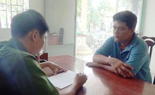 Đối tượng Huỳnh Văn Tùng tại cơ quan công an