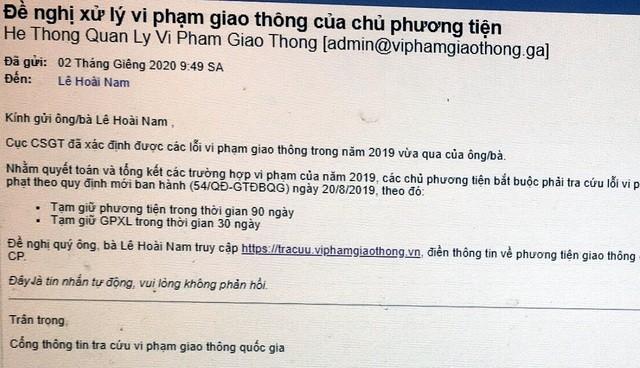Nội dung thư điện tử của các đối tượng lừa đảo trên địa bàn Lạng Sơn.