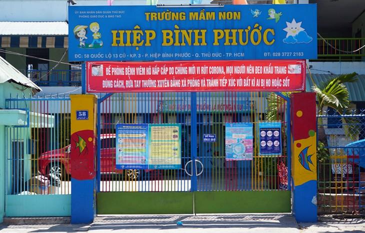 Trường mầm non Hiệp Bình Phước (quận Thủ Đức, TP HCM) đóng cửa phòng chống Covid-19