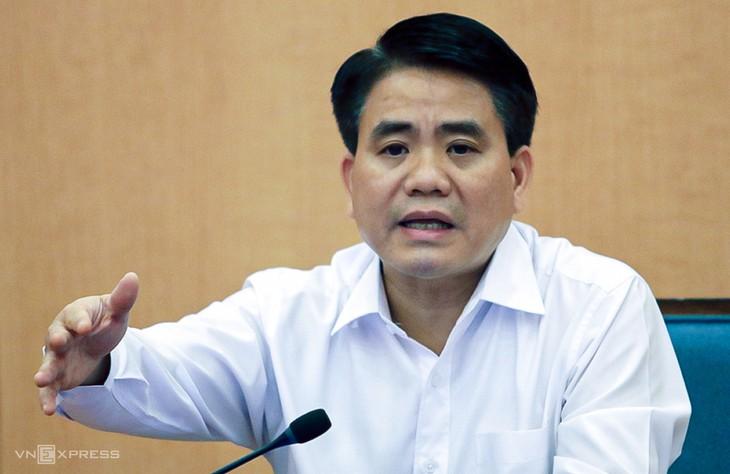 Ông Nguyễn Đức Chung tại một cuộc họp Ban chỉ đạo chống Covid-19 TP Hà Nội.