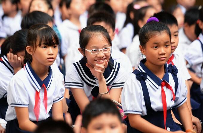 Học sinh trường Tiểu học Lê Văn Thọ (quận 12) trong lễ khai giảng năm 2019