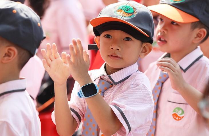 Học sinh lớp 1 tại trường Ngôi sao tham dự lễ khai giảng năm học 2019-2020.