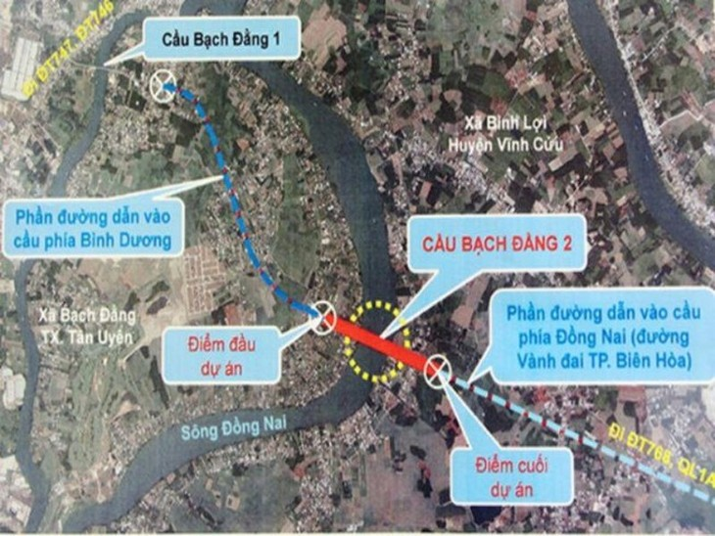 Cầu Bạch Đằng 2 bắc qua sông Đồng Nai nối xã Bạch Đằng (thị xã Tân Uyên, tỉnh Bình Dương) với xã Bình Lợi (huyện Vĩnh Cửu) . Nguồn Internet