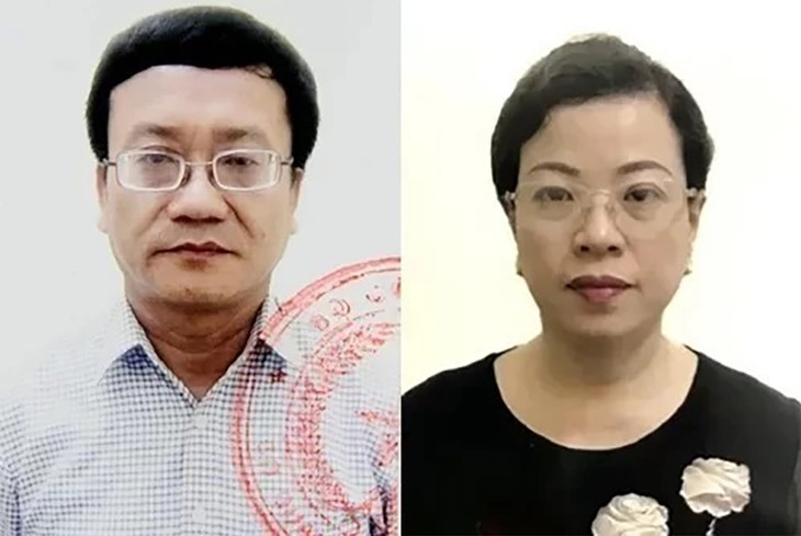 Bị can Nguyễn Quang Vinh và Diệp Thị Hồng Liên. Ảnh: Bộ Công an.