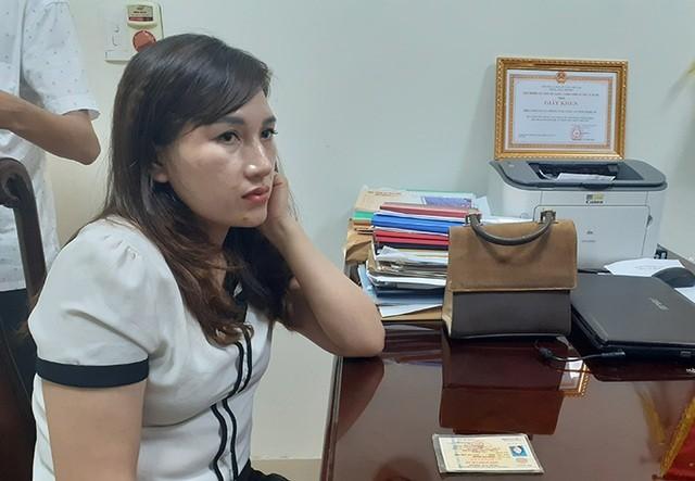 Trần Thị Giang tại cơ quan công an.