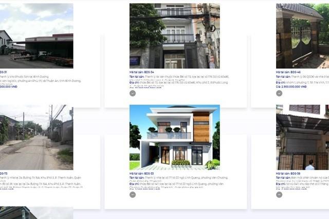 Hàng loạt bất động sản đang được Ngân hàng TMCP Sài Gòn rao bán. Ảnh: SCB