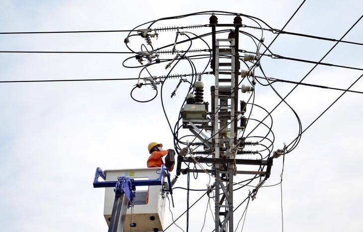 Công nhân Công ty Điện lực nâng cấp hệ thống lưới điện. Ảnh: TTXVN