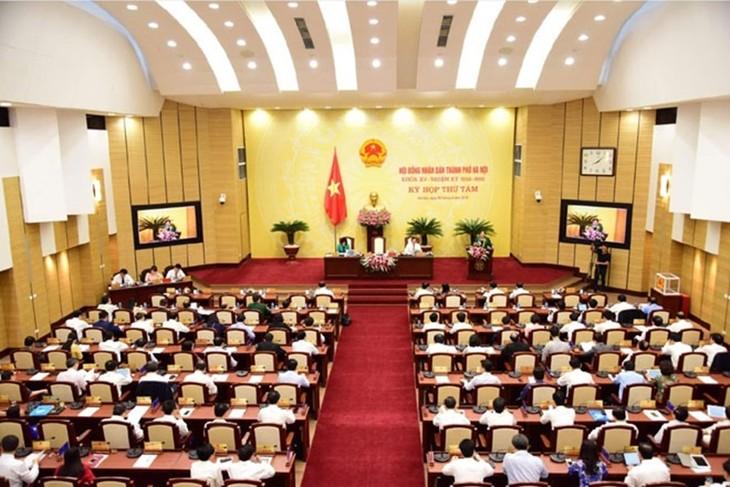 Một phiên họp của HĐND thành phố Hà Nội khóa XV.
