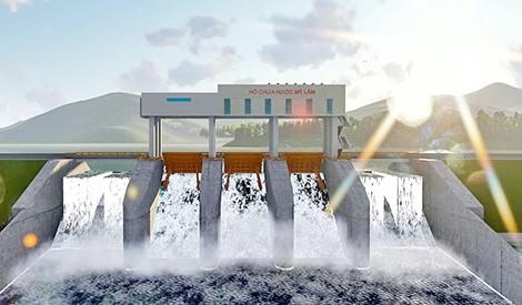Phối cảnh tràn xả lũ hồ chứa nước Mỹ Lâm