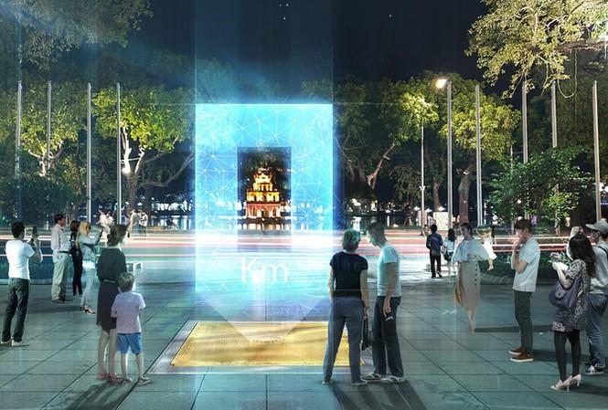 Phối cảnh Cột mốc số 0 đặt tại khu vực tượng đài, vườn hoa Lý Thái Tổ
