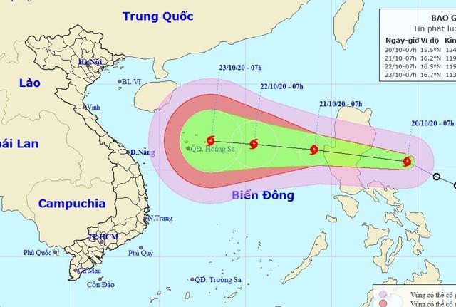 Vị trí và hướng di chuyển của bão Saudel. (Ảnh: NCHMF).