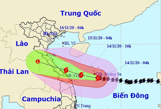 Vị trí và hướng di chuyển của bão số 13. Ảnh: NCHMF