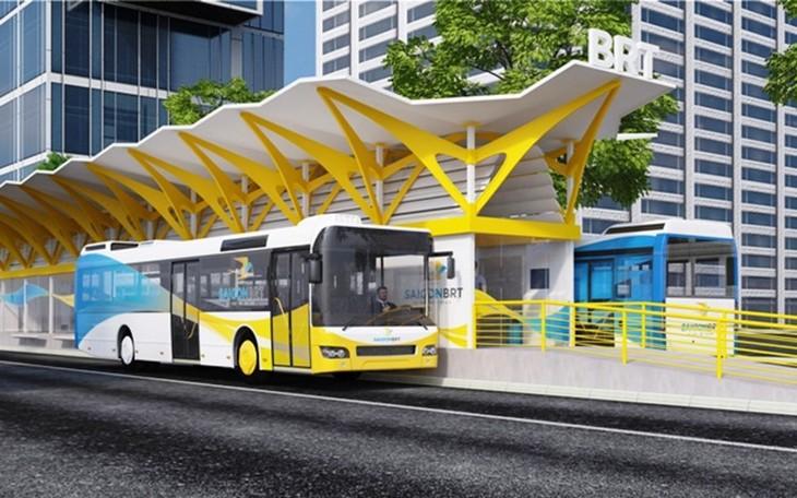 Phối cảnh tuyến buýt nhanh BRT số 1 của TPHCM. Ảnh: UCCI