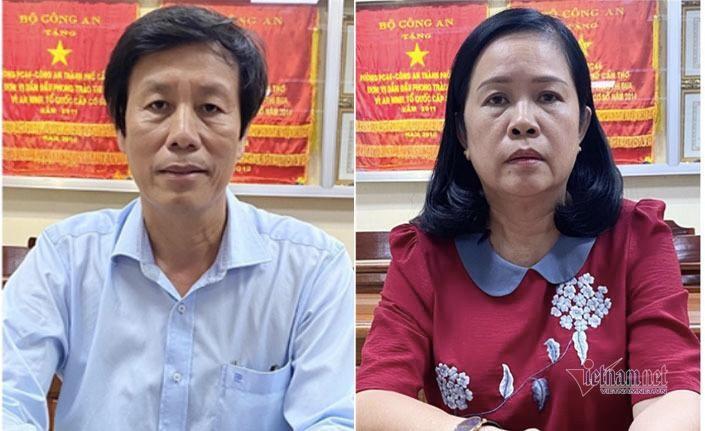 Ông Cao Minh Chu (bên trái) và bà Bùi Thị Lệ Phi tại cơ quan công an. Ảnh: Bộ Công an