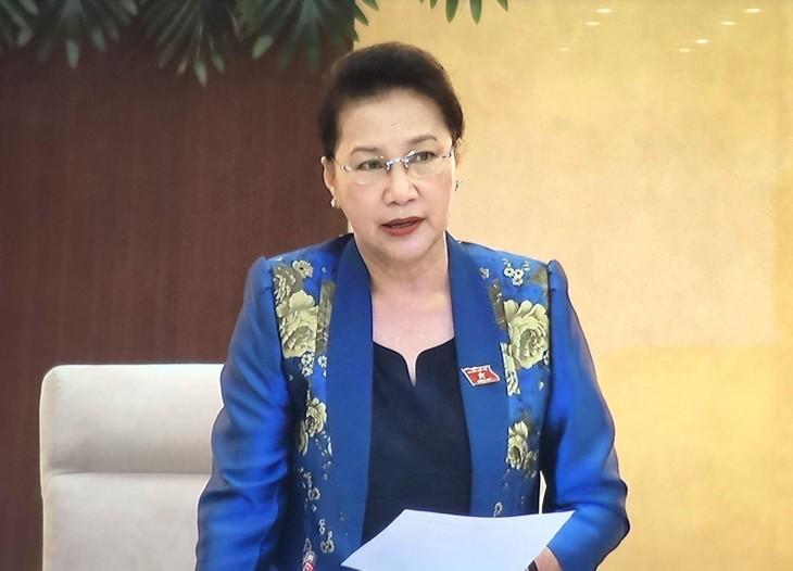 Chủ tịch Quốc hội Nguyễn Thị Kim Ngân phát biểu khai mạc Phiên họp. Ảnh chụp qua màn hình