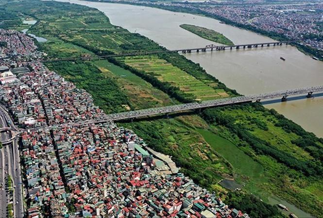 Khu vực dân cư ngoài bãi sông Hồng