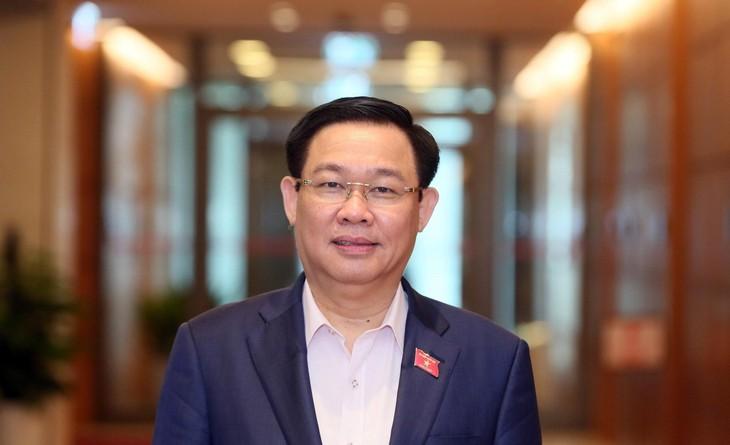 Bí thư Thành ủy Hà Nội Vương Đình Huệ vừa được giới thiệu để Quốc hội bầu giữ chức vụ Chủ tịch Quốc hội khoá XIV. Ảnh: TTXVN