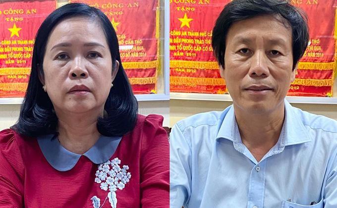 Bị can Cao Minh Chu, nguyên Giám đốc Sở Y tế Cần Thơ và Bùi Thị Lệ Phi, nguyên giám đốc Sở Y tế Cần Thơ đã bị khởi tố vì có sai phạm trong đấu thầu. Ảnh: Cơ quan điều tra cung cấp