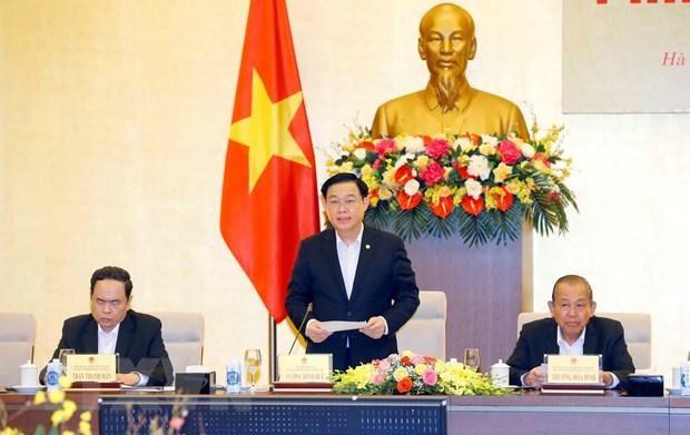 Chủ tịch Quốc hội Vương Đình Huệ, Chủ tịch Hội đồng Bầu cử Quốc gia phát biểu. Ảnh: TTXVN